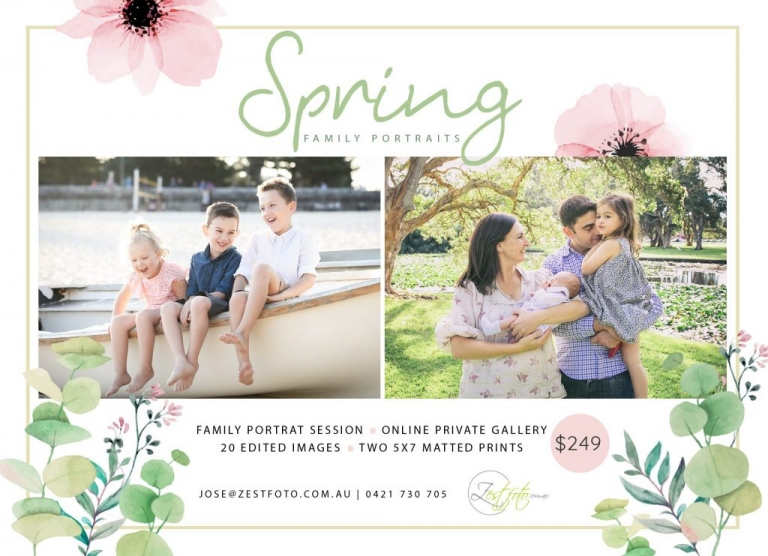 Family Portraits Sydney Spring Promotion